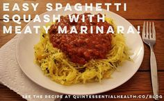 Easy Spaghetti Squash with Meaty Marinara | Quintessential Health #paleo #healthy #whole30