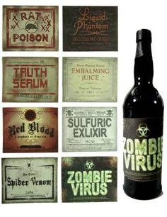 These would be fun for a Halloween party! Halloween Apothecary Labels, Halloween Bottle Labels, Halloween Potions, Halloween Drinks, Holidays Halloween, Halloween Crafts, Vintage Halloween, Halloween Decorations, Halloween Party