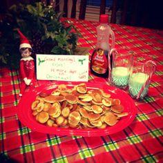 Elf On the Shelf Breakfast   Elf on the shelf, he made breakfast for the kiddos. Elf size pancakes ...