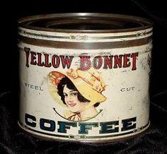 White yellow bonnet vintage coffee tin - great country store display tin - rare
