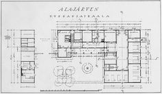 Plan for Alajärvi Municipal Hospital by Alvar Aalto. This miniature hospital originally held two patients' rooms with two beds and two with four beds, an isolation ward, operating theatre, nurses' room, and office.