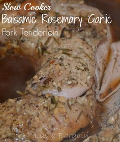 This Slow Cooker Balsamic Garlic Pork Tenderloin is so delicious and juicy!  Healthy and easy to prepare to have ready when you get home from a long day. Garlic Pork Tenderloin Recipe, Venison Tenderloin, Slow Cooker Pork Tenderloin, Crock Pot Slow Cooker, Crock Pot Cooking, Slow Cooker Recipes, Crockpot Recipes, Cuisine Diverse, Glazed Pork