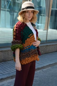 Your place to buy and sell all things handmade Chunky Cardigan, Knit Cardigan, Winter Hats For Women, Knit Jacket, Easy Knitting, Fall Winter Outfits, Sweater Weather, Wool Coat, Knitted Hats