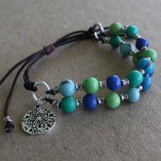 Acai Seeds Bracelets turquoise greens blues sand by RumCay