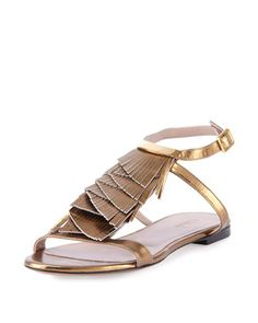 Metallic+Fringe+Flat+Sandal,+Gold+by+Chloe+at+Bergdorf+Goodman.