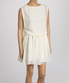 Another great find on #zulily! Ivory Sleeveless Blouson Dress #zulilyfinds