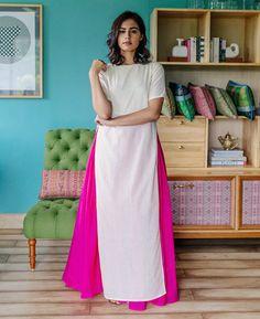 Pastel Yellow Hand Block Printed Maxi Dress and Pink Cotton Skirt - Mogra…