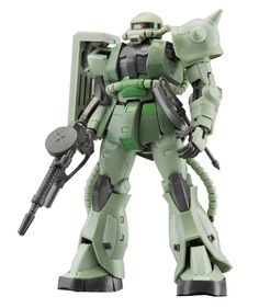 Bandai #04 MS-06F Zaku II 1/144 Real Grade. Features of a MG and PG kit at lower price. Molded in separate colors, no paint required. Easy to snap together, no glue required.