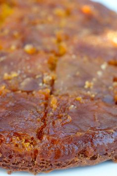 Enjoy this upside down cake made with pumpkin butter, Pumpkin Butter Cake, perfect for fall baking! ReluctantEntertainer.com