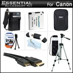 """Essential Accessories Kit For Canon Powershot Elph 110 HS, Elph 320 HS Digital Camera Includes Extended Replacement (900 maH) NB-11L Battery + AC/DC Charger + Mini HDMI Cable + USB 2.0 Card Reader + Hard Case + 50"""" Tripod w/Case + Screen Protectors + More by ButterflyPhoto. $32.95. Product Description This Kit Includes Some Of The Essential Accessories You Need To Take Full Advantage Of Your New Canon Powershot Elph 110 HS, Elph 320 HS, A2300, A2400 IS, A3400 IS..."""