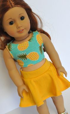 18 Inch Doll Clothes Turquoise Pineapple Print Crop Top with Yellow Skater Skirt made to fit dolls such as American Girl by CircleCSewing on Etsy