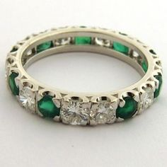 Alliance en or émeraudes et diamants 813 #bijoux #jewellery #vintage