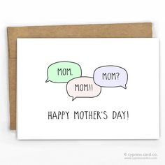 Funny Mother's Day Card   Mom. Mom!!! Mom?? by Cypress Card Co.   100% Recycled Boutique Cards   See more at www.cypresscardco.com