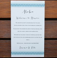 Destination Wedding Welcome Note by WanderlustWeddings on Etsy, $15.00