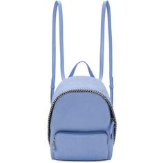 Stella McCartney Blue Mini Falabella Backpack ($675) ❤ liked on Polyvore featuring bags, backpacks, backpack, blue, stella mccartney, animal backpacks, zipper bag, mini rucksack and studded backpack