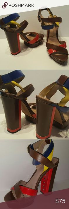 Vince Camuto red block heels platform shoe 8 Reduced*  Vince Camuto red block  platform heels, blue & yellow straps, shoes size 8B, in great condition, some scuffs, Please see Pictures. Vince Camuto Shoes Platforms