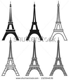 vector Eiffel Tower set - stock vector