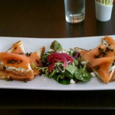 Smoked Salmon Tartine (smoked salmon, lemon-zested cream cheese and fried capers, with small side (middle) salad) from Austin Cake Ball Kitchen & Bar