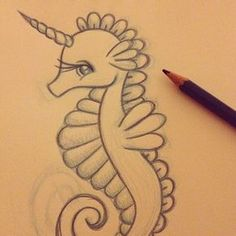 A little seacorn doodle before bed. #doodle #drawing #illustration #pencil…