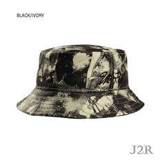 465786736a466 Unique Printing Inner Pocket Camping Hiking Bucket Hat J2R JRBK002  Black Ivory  J2RKorea