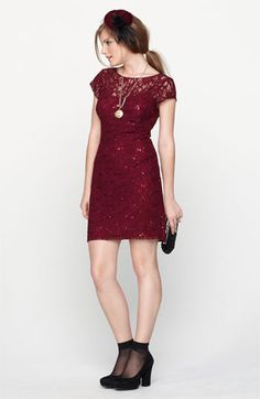 Hailey by Adrianna Papell Embellished Lace Sheath Dress   Nordstrom