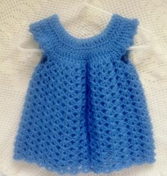 Crocheted Baby Dress Pinafore Infant Girl Baby Shower Gift