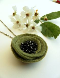 Olive Green Poppy Necklace, Felt Flower Brass Chain Jewelry