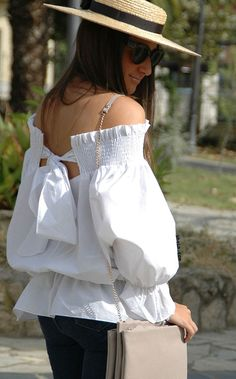 White Off The Shoulder Bow Back Blouse Summer Outfits, Casual Outfits, Cute Outfits, Fashion Outfits, White Off Shoulder, Costume, Blouse Online, White Fashion, African Fashion