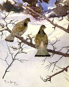 Grouse and Snow, by Portrait Of A Young Woman, 1912, by Frank Weston Benson (American, 1862-1951).