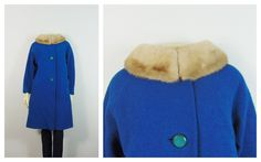 Vintage Coat 50s 60s Tapp's Blue Coat Mink Collar Big Buttons Satin Lining Modern Size by 2sweet4wordsVintage on Etsy