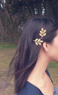 Gold Leaf Bobby Pins by dreamsbythesea
