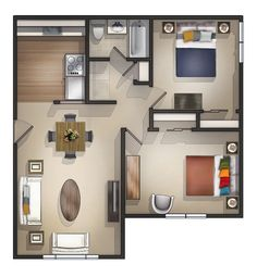 20 Modern House Plans 2018 - Interior Decorating Colors perfect modern bedroom apartment floor plans with plan remarkable inside Modern Two Floors 2 Bedrooms 15 Modern House Plans 2018 2 Bedroom Apartment Floor Plan, Small Apartment Plans, Studio Apartment Floor Plans, Studio Apartment Layout, Two Bedroom House, Two Bedroom Apartments, Cool Apartments, Studio Apartments, Homemade Home Decor
