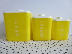 Vintage Lustroware Canister Set Yellow by ForestHillsVintage