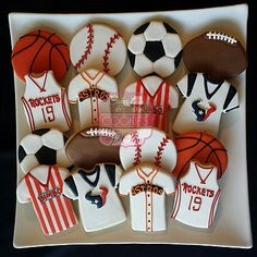 Sports Cookies, Houston Rockets Basketball Cookies, Houston Astros Baseball Cookies, Soccer Cookies, Houston Texans Football Cookies