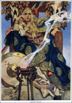 Queen Meave by  J. C Leyendecker She's the queen of Connacht in the Ulster Cycle of Irish mythology.
