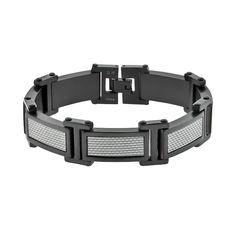 Lynx Stainless Steel Black Ion and Carbon Fiber Bracelet - Men, Grey