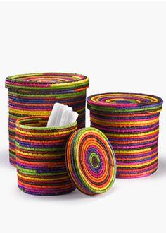 Multicolor Raffia Baskets With Lids handmade in Madagascar :-)