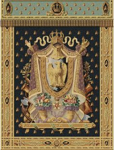"Heraldry: February 2012  ""Napoleon Tapestry"" (http://www.designtoscano.com/product/code/TX5075.do), with the arms (and bees) of the French Emperor Napoleon Bonaparte.  This tapestry is copied from ""the only surviving tapestry of a series of six designed by Louis de La Hamayde de Saint-Agne for the Emperor's official study."""