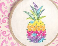 Hand embroidery, embroidery pattern, pineapple decor, modern embroidery, Hawaiian decor, Colorful pineapple craft by NaNeeHandEmbroidery