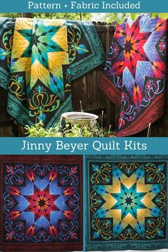 "Treat yourself to spectacular style with the RJR Lotus Quilt Kit! You'll receive a pattern and Jinny Beyer's incredible Palette collection fabric to sew this stunning, 98"" x 98"" quilt top. Featuring a breathtaking central star motif and gorgeous color gradation, this project perfectly showcases the lavish hues and subtle prints RJR is famous for."