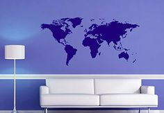 Abstract World Map Wall Decal Decoration for Globe Trotters. Show your open mind with this great vinyl sticker design. Decals and stickers - Made in USA.