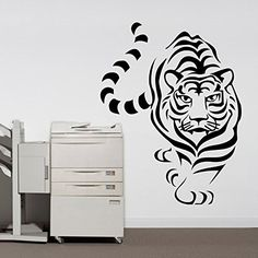 Black Tiger Wall Decal PVC Home Sticker House Vinyl Paper Decoration WallPaper Living Room Bedroom Kitchen Art Picture DIY Murals Girls Boys kids Nursery Baby Playroom Decor * Be sure to check out this awesome product.