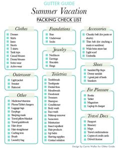 Glitter Guide - summer holiday packing list