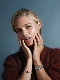 Style up your favorite knit sweater with stunning jewelry. Layer up on PANDORA ESSENCE COLLECTION bracelets for a timeless and sophisticated everyday style. Click the image for more classic and elegant looks. #PANDORAmagazine