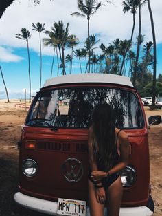 VW Bus and girl
