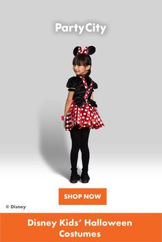 Shop now for all your kids Halloween costumes at Party City. Minnie Mouse Costume, Halloween Costumes For Kids, Shop Now, Polka Dots, Children, Disney, Party, Fun, Shopping