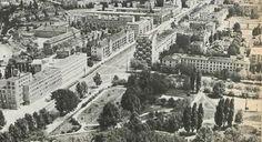 1968. Ul.Słowackiego ze starym przebiegiem Ul.Stołecznej i ogródkiem Jordanowskim. żrodło FB