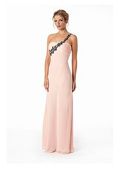 one shoulder pink chiffon applique column prom dress