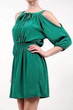 Emerald cold shoulder dress