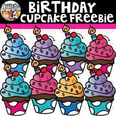 Birthday Cupcake Freebie Clipart {Birthday Clipart} #creating4theclassroom #backtoschool #teacherfreebies #clipartforteachers